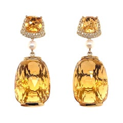 31.6 Carat Honey Quartz Earring in 18 Karat Yellow Gold with Diamonds