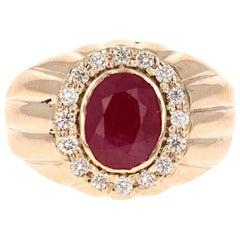 3.16 Carat Men's Ruby Diamond 14 Karat Yellow Gold Ring