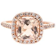 3.16 Carat Morganite Diamond 14 Karat Rose Gold Ring