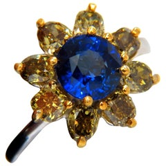 3.16 Carat Natural Royal Blue Round Sapphire Fancy Color Diamonds Cluster Ring