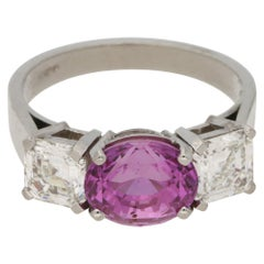 Pink Sapphire and Asscher Cut Diamond Three-Stone Engagement Ring in Platinum