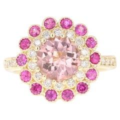 3.16 Carat Tourmaline Pink Sapphire Diamond 14 Karat Yellow Gold Ring