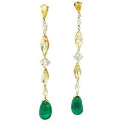 31.65 Carat GRS Certified Colombian Emerald Drops and Fancy Diamond Earrings