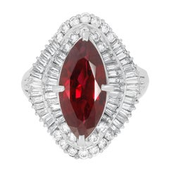 3.16ct Ruby Ring with 1.23ct Diamonds Set in Platinum