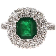 3.17 Carat Emerald Diamond 18 Karat White Gold GIA Certified Engagement Ring
