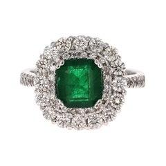 3.17 Carat Emerald Diamond 18 Karat White Gold GIA Certified Engagement Ring
