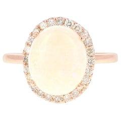 3.17 Carat Opal Diamond 14 Karat Rose Gold Ring