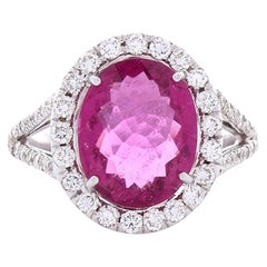 3.17 Carat Oval Rubellite and Diamond Cocktail Ring in 18 Karat White Gold