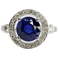 3.17 Carat Round Blue Sapphire and Diamond Ring