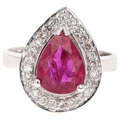 3.17 Carat Ruby Diamond 18 Karat White Gold Engagement Ring
