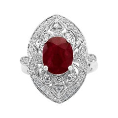 3.17 Carat Ruby Oval Diamond Halo Art Deco Style White Gold Cocktail Ring