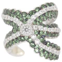 3.17 Carat Tsavorite and 1.51 Carat Diamond Ring in 18 Karat Gold