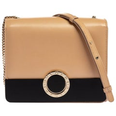 317609Bvlgari Beige Leather Flap Chain Crossbody Bag