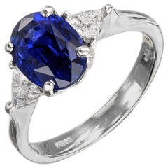 3.18 Carat Blue Sapphire Diamond Platinum Three-Stone Engagement Ring
