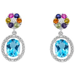 3.18 Carat Blue Topaz, Multi-Color Sapphire, and White Diamond Stud Earrings