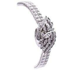 3.18 Carat Diamond Hamilton 14 Karat White Gold Flip-Top Watch
