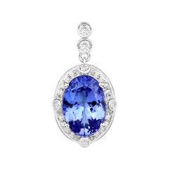 3.18 Carat Genuine Tanzanite and White Diamond 14 Karat White Gold Pendant