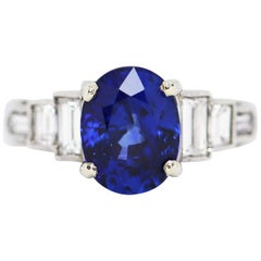 3.18 Carat Natural Sapphire and Diamond Platinum Deco Engagement Ring