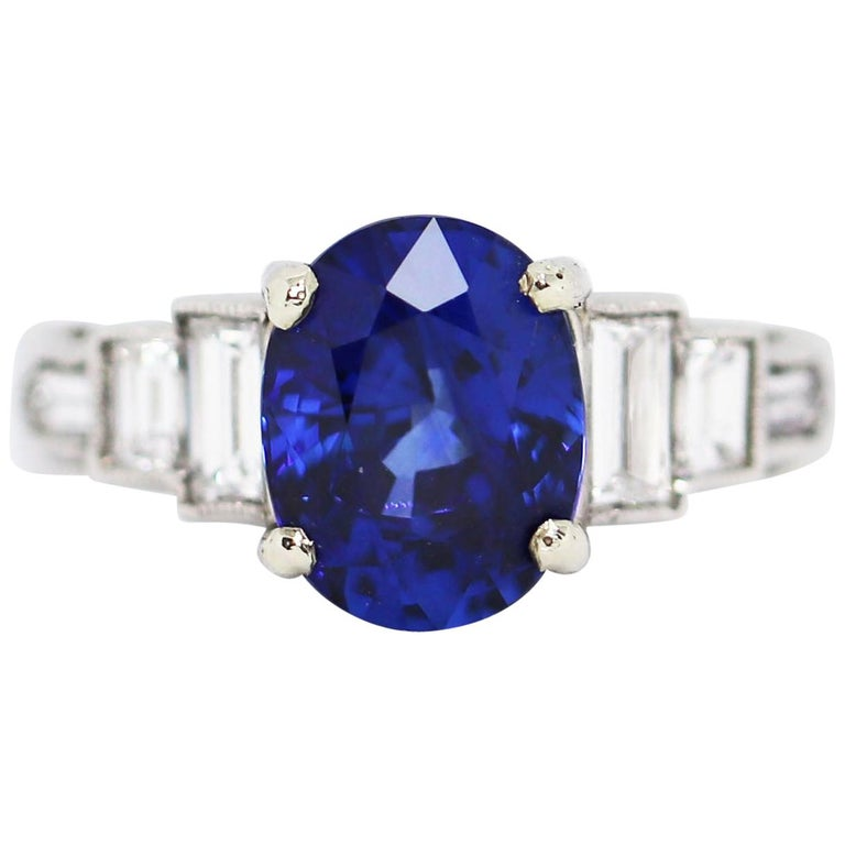 3.18 Carat Natural Sapphire and Diamond Platinum Deco Engagement Ring For Sale