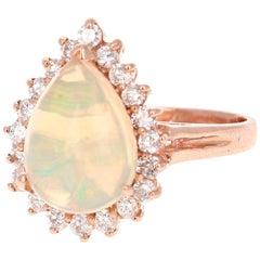 3.18 Carat Pear Cut Opal Diamond 14 Karat Rose Gold Ring