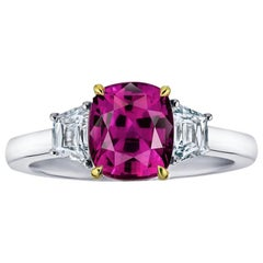 3.18 Carat Red Cushion Ruby and Diamond Ring