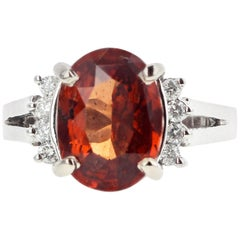 3.18 Carat Red Tourmaline and White Topaz Ring