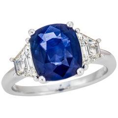 3.62 Carat Sri Lanka Sapphire GRS Certified, Unheated Ceylon Ring, Cornflower