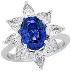 3.18 Carat Sri Lanka Sapphire GRS Certified, Unheated Ceylon Ring, Oval Cut