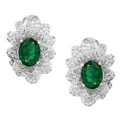 3.18 Carat Emerald Diamond 18 Karat Gold Stud Reef Earrings