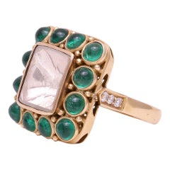 3.18 cts Diamond Rosecut and Emerald Round Cabochon Ring Handcrafted in 18k Gold