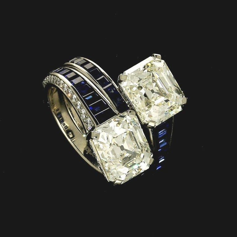 Contemporary 3.18ct & 3.04ct Vintage Emerald-Cut Diamond and Sapphire x Over Ring by Hancocks For Sale