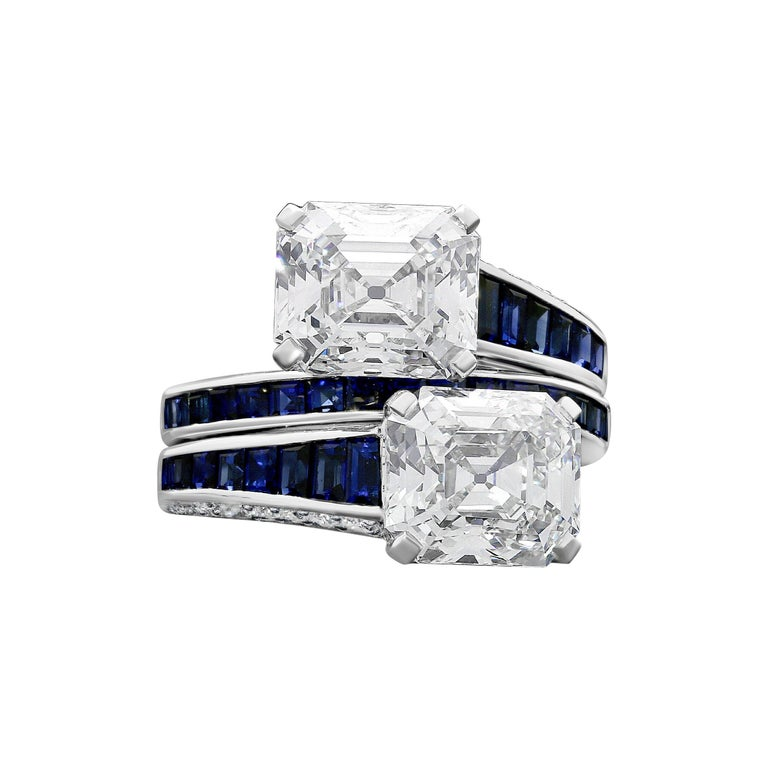 3.18ct & 3.04ct Vintage Emerald-Cut Diamond and Sapphire x Over Ring by Hancocks For Sale