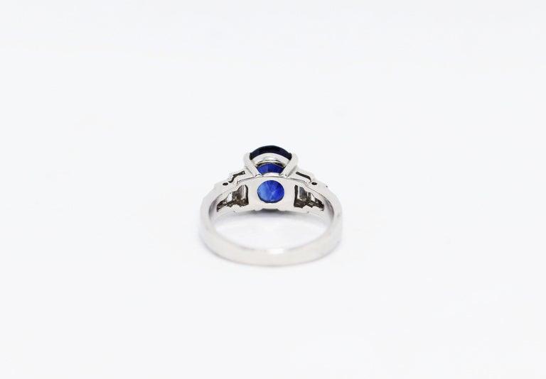Art Deco 3.18 Carat Natural Sapphire and Diamond Platinum Deco Engagement Ring For Sale