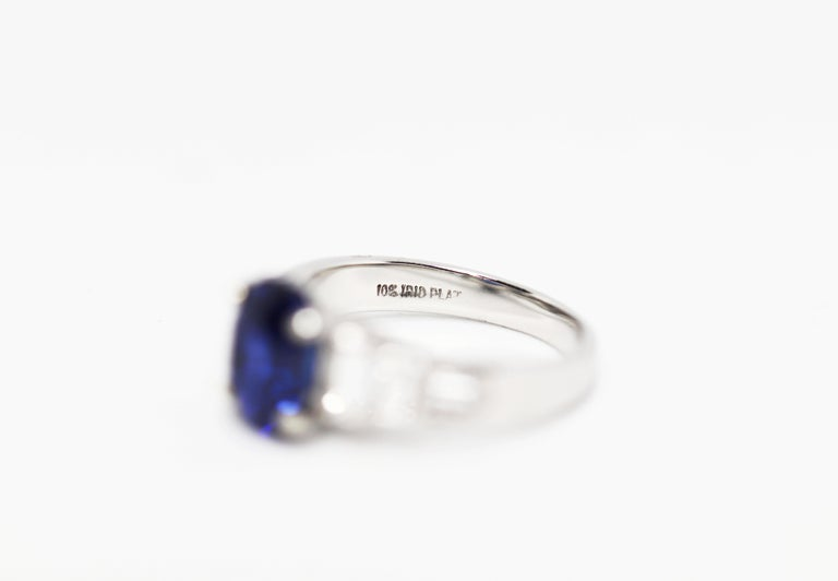 3.18 Carat Natural Sapphire and Diamond Platinum Deco Engagement Ring For Sale 1