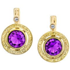 3.19 ct. t.w. Bezel Set Amethyst & Diamond 18k Engraved Lever Back Drop Earrings