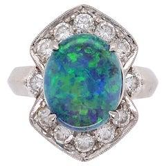 3.19 Carat Black Opal and Diamond Platinum Cocktail Ring Estate Fine Jewelry