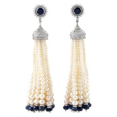 31.9 Carat Blue Sapphire Diamond Pearl 18 Karat Gold Tassel Earrings