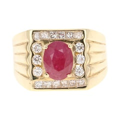 3.19 Carat Mens Ruby Diamond 14 Karat Yellow Gold