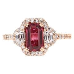 3.19 Carat Ruby Diamond 14 Karat Rose Gold Engagement Ring GIA Certified
