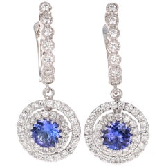 3.19 Carat Tanzanite Diamond 14 Karat White Gold Dangle Earrings