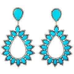 31.9 Carat Turquoise Diamond Earrings