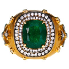 3.19 Carat Vivid Green Zambian Emerald in Antique Style Bridal Ring
