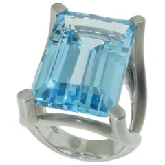 31.90 Carat Sky Blue Topaz Statement Ring