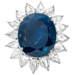 31.91ct GRS Certified Natural Blue Sapphire and Diamond Ring in 18 Karat Gold
