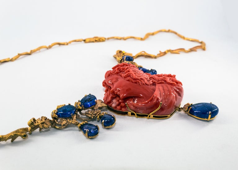 31.93 Carat Tanzanite White Diamond Pink Carved Coral Yellow Gold Greek Necklace For Sale 5