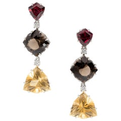 31.96 Carat of Garnet, Smokey Topaz, Citrine and Diamond Earrings Set in Plat