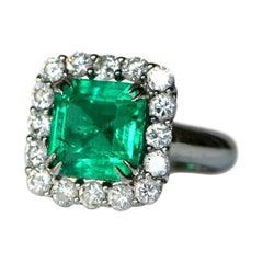 3.19 Carat GCS Certified Minor Colombian Emerald Platinum Diamond Ring