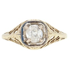 .31ct Old European Cut Diamond Engagement Ring 14k Yellow Gold Vintage Solitaire
