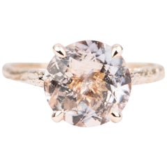 3.1ct Pink Galaxy Morganite Engagement Ring 14k Rose Gold Branch Texture AD2182