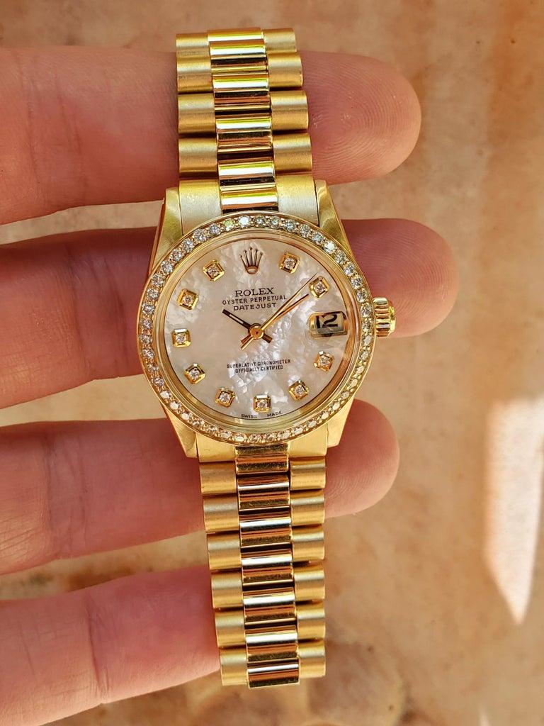 Modern Rolex Midsize Presidential 18 Karat Yellow, Mother of Pearl Diamond Dial, Bezel For Sale